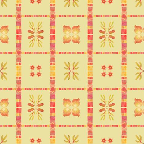 granada tile_yellow ochre fabric by bee&lotus on Spoonflower - custom fabric