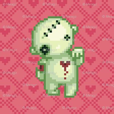Bleeding heart zombie on pink hearts