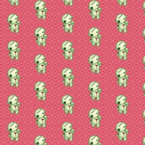 Bleeding heart zombie on pink hearts fabric by iamnotadoll on Spoonflower - custom fabric