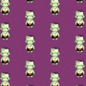Frankenstein's monster on purple skulls