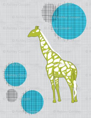 Giraffes in Green & Blue