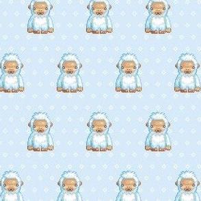 Yeti on blue snowflakes
