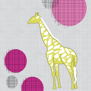 Giraffes in Yellow & Pink