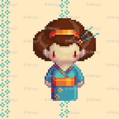 Blue Geisha on Blossoms