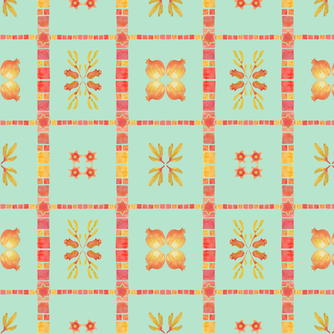 Granada Tile_aqua fabric by bee&lotus on Spoonflower - custom fabric