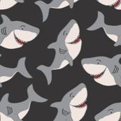 Black Gray Cute Shark Vector Repeat