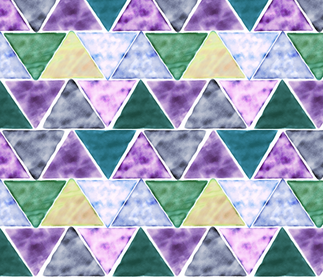 watercolor triangles - green and purple fabric by ravynka on Spoonflower - custom fabric