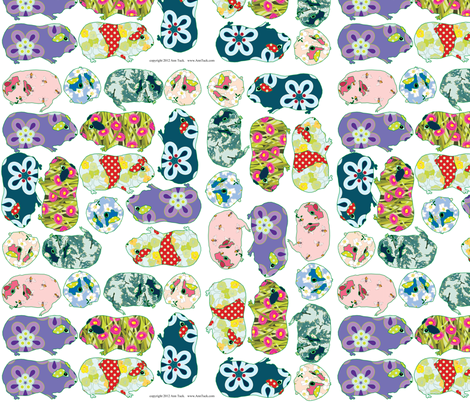 Guinea Pig Cut Outs for Wall Decals,  Applique or Crafts fabric by anntuck on Spoonflower - custom fabric