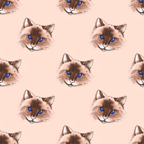 Cat fabric by joanmclemore on Spoonflower - custom fabric