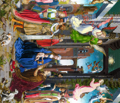Seamless: Jan Mabuse /Gossaert: The Adoration of the Kings c. 1510-15 fabric by bonnie_phantasm on Spoonflower - custom fabric