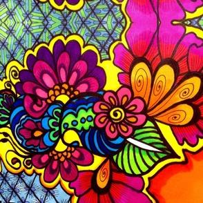 Henna Fushia Flowers