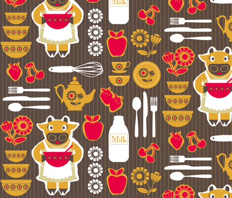 Cows in the Kitchen fabric by run_quiltgirl_run on Spoonflower - custom fabric