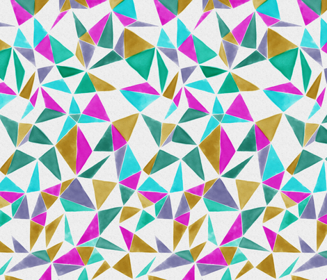 triangle FACETS - pink, veronese, mustard, ink fabric by ravynka on Spoonflower - custom fabric