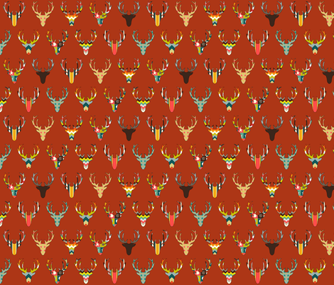 retro deer head russet small fabric by scrummy on Spoonflower - custom fabric