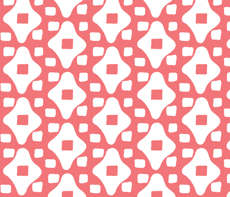 Wonky Moroccan Square (salmon & white) fabric by pattyryboltdesigns on Spoonflower - custom fabric