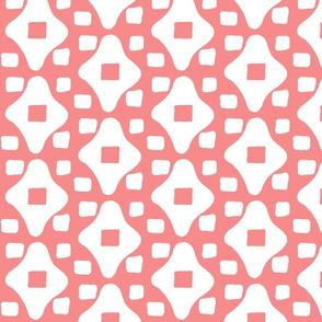 Wonky Moroccan Square (salmon & white)