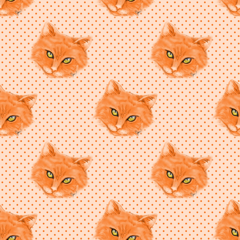 Orange Cat with polka dots background fabric by joanmclemore on Spoonflower - custom fabric