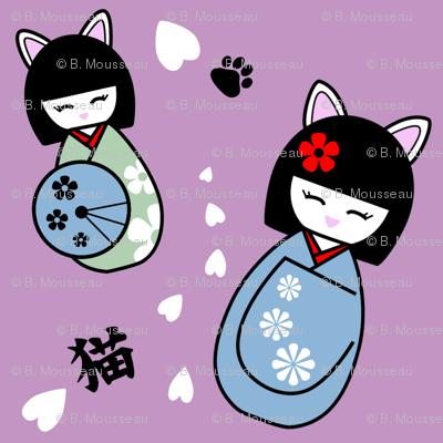 Kokeshi kitties - mauve