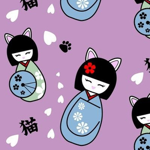Kokeshi kitties - mauve