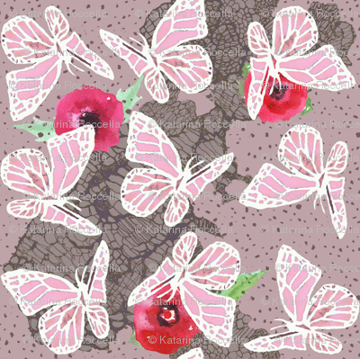 butterflies on lace dotty pink