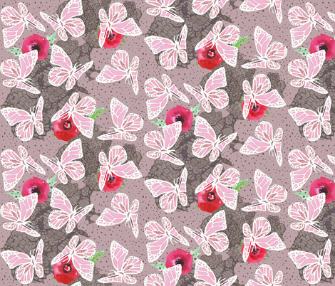 butterflies on lace dotty pink fabric by katarina on Spoonflower - custom fabric