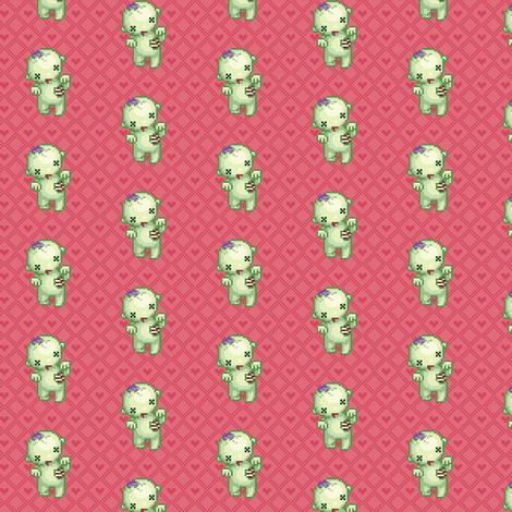 Braaains - Zombie on Pink Hearts fabric by iamnotadoll on Spoonflower - custom fabric