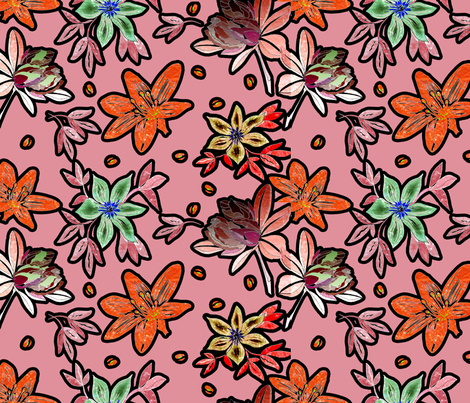 outlined flowers over pink fabric by isabella_asratyan on Spoonflower - custom fabric