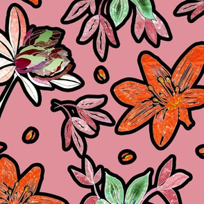 outlined flowers over pink