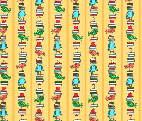 Book Birds Stripe fabric by my_zoetrope on Spoonflower - custom fabric