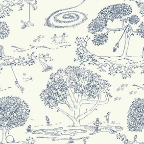 Tire Swing Toile in cream/navy