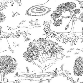Tire Swing Toile in white/black