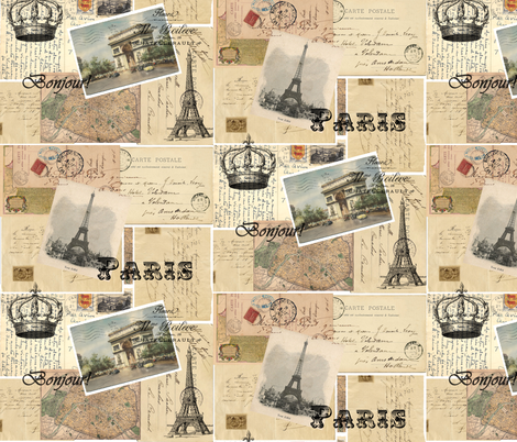 French Paris Postcard Collage Fabric Moonsdesign Spoonflower - Paris map fabric