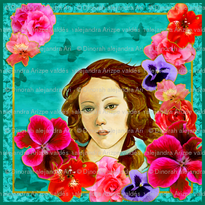 Venus and spring flowers foulard.