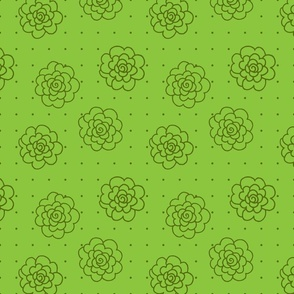 Rosettes and Polka Dots - Green