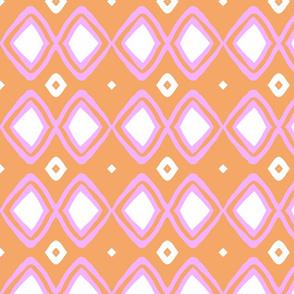 Diamonds!! (deep blush, tangerine & white)