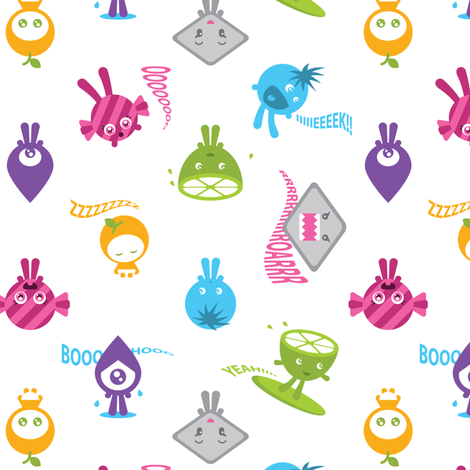 The Sour Surfer and friends - white fabric by shapeshifter on Spoonflower - custom fabric