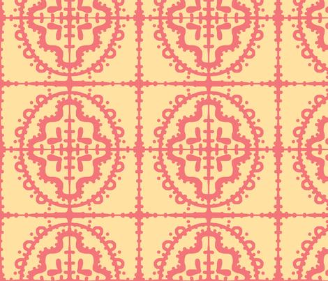 Bumpy Wonky Tile (sunshine & salmon) fabric by pattyryboltdesigns on Spoonflower - custom fabric