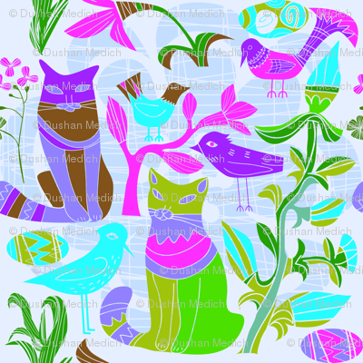 Cats Birds and retro flowers pattern
