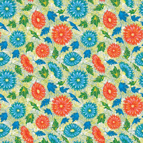 Colorful Retro Floral Pattern_yellow Tint