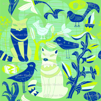 Cats birds and flowers retro pattern