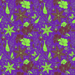 Retro floral pattern design-purple and green