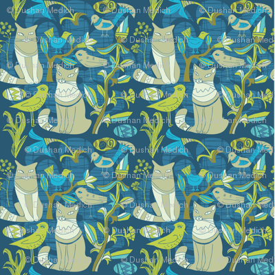 Retro Pattern- Cats birds and flowers- Blue and green