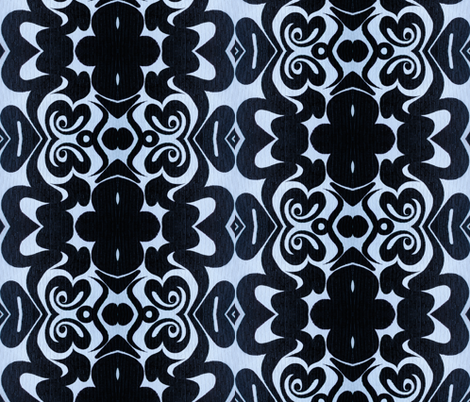 Black_On_Blue_Medium fabric by mikep on Spoonflower - custom fabric