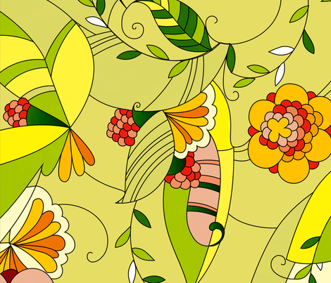 Yellow and green tones retro floral collage fabric by dushanmedich on Spoonflower - custom fabric