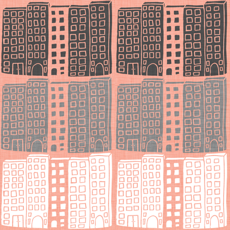 City - coral fabric by maker_maker on Spoonflower - custom fabric