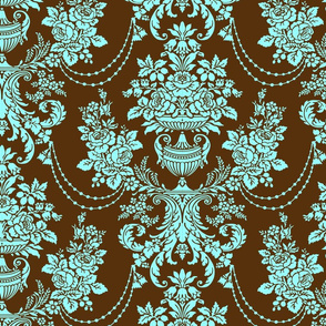 Blue and brown baroque floral damasks pattern