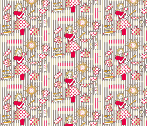 Retro-kitchen happiness fabric by lucybaribeau on Spoonflower - custom fabric