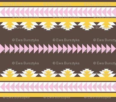 aztec stripes darkbrown pink & yellow