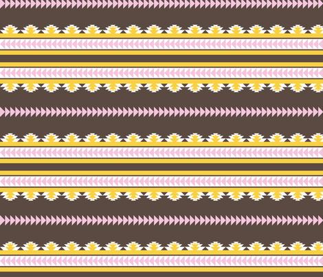 aztec stripes darkbrown pink & yellow fabric by ravynka on Spoonflower - custom fabric