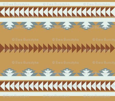 aztec stripes - cinnamon & slate blue
